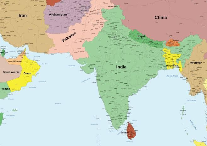 インド、中東地図