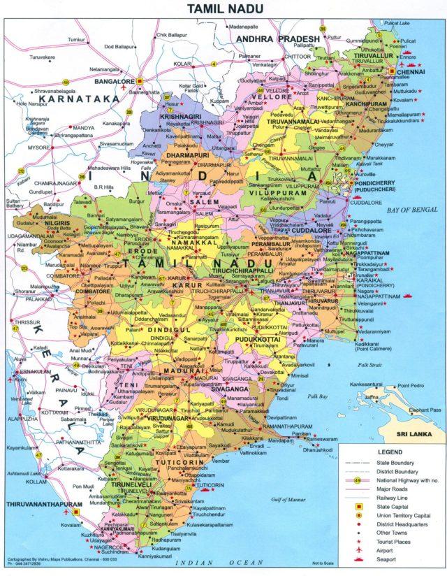 タミルナド州地図