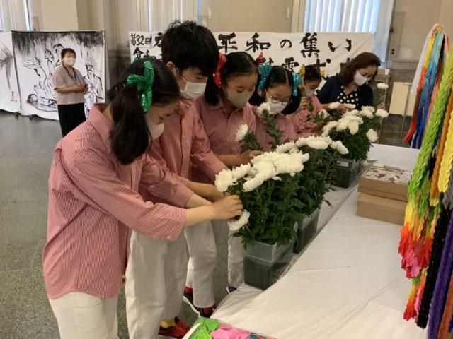 広島ジュニアマリンバアンサンブル 献花